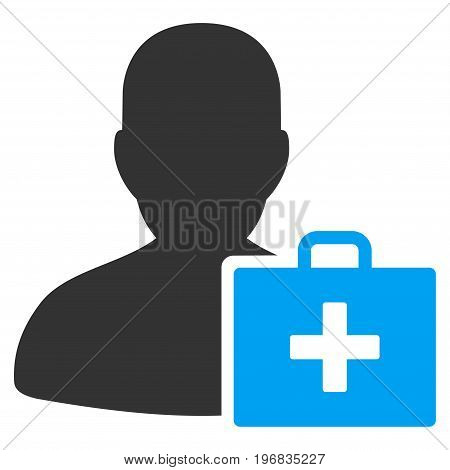 Paramedic vector icon. Style is flat graphic bicolor symbol, blue and gray colors, white background.