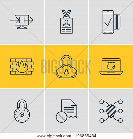 Editable Pack Of Send Information, Safe Lock, Easy Payment And Other Elements.  Vector Illustration Of 9 Data Icons.