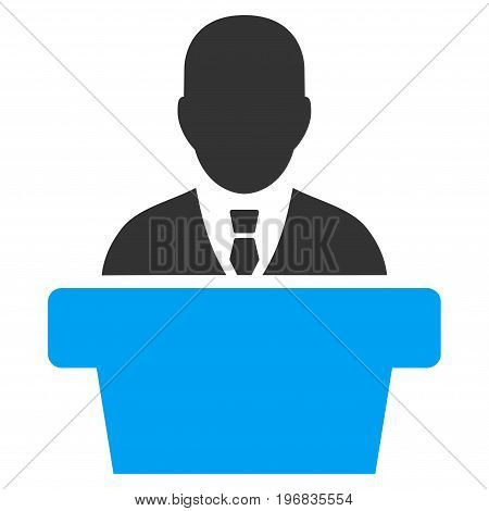 Politician vector pictogram. Style is flat graphic bicolor symbol, blue and gray colors, white background.