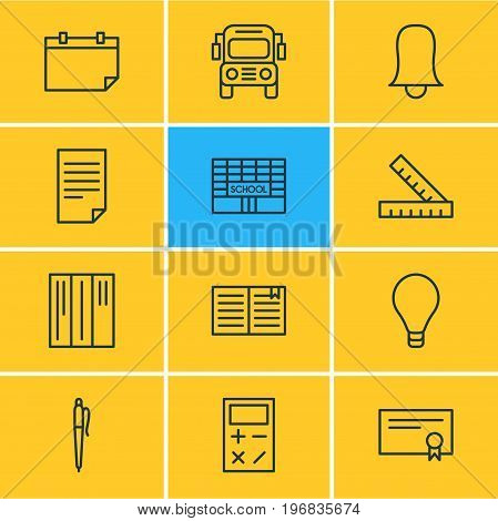Editable Pack Of Paper, Diploma, Jingle And Other Elements.  Vector Illustration Of 12 Studies Icons.