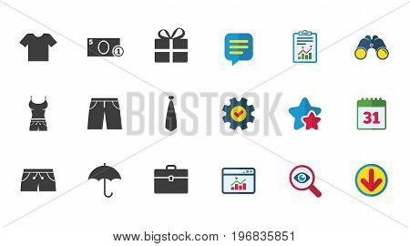 Clothing, accessories icons. T-shirt, business case signs. Umbrella and gift box symbols. Calendar, Report and Download signs. Stars, Service and Search icons. Statistics, Binoculars and Chat. Vector