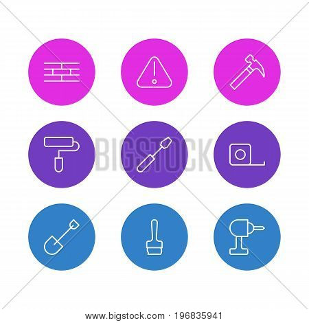 Editable Pack Of Measure Tape, Paintbrush, Turn Screw And Other Elements.  Vector Illustration Of 9 Structure Icons.