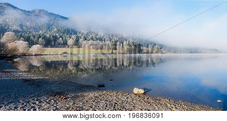 Pictorial Landscape With Hoarfrost, Lake Schliersee,