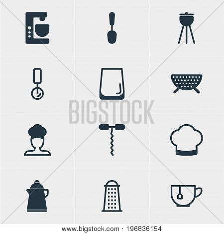 Editable Pack Of Mixer, Chef Hat, Wine Opener And Other Elements.  Vector Illustration Of 12 Cooking Icons.