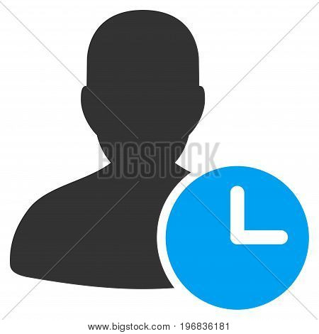 Time Management Clock vector icon. Style is flat graphic bicolor symbol, blue and gray colors, white background.
