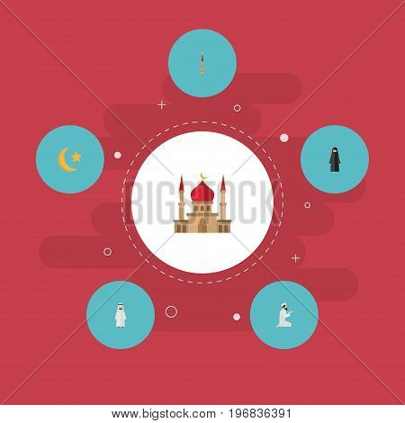 Flat Icons Minaret, Mosque, Praying Man And Other Vector Elements