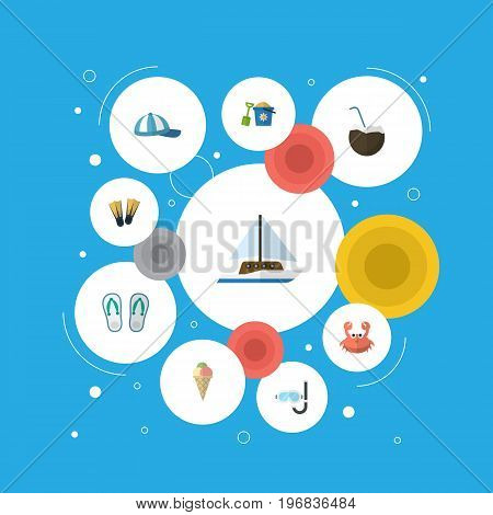Flat Icons Sailboard, Cocos, Aqualung And Other Vector Elements