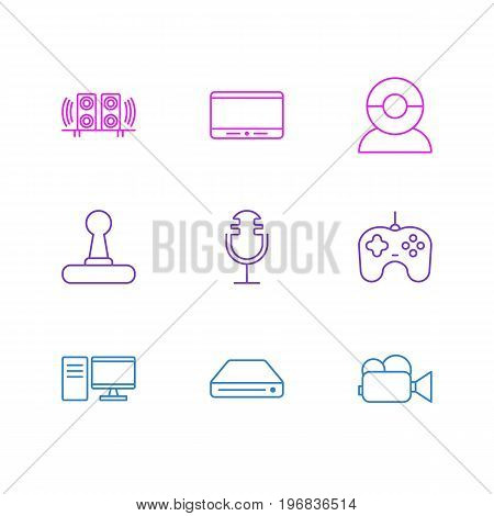 Editable Pack Of Game Controller, Video Chat, Sound Recording And Other Elements.  Vector Illustration Of 9 Gadget Icons.