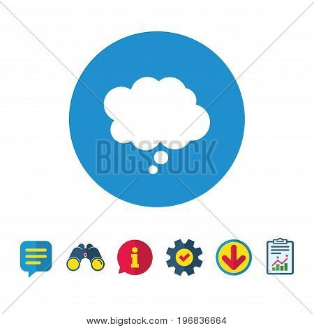 Comic speech bubble sign icon. Chat think symbol. Information, Report and Speech bubble signs. Binoculars, Service and Download icons. Vector