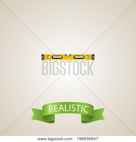 Realistic Bubble Level Element. Vector Illustration Of Realistic Plumb Ruler Isolated On Clean Background