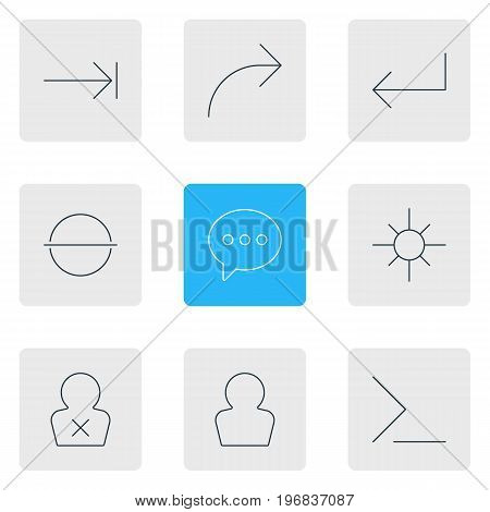 Editable Pack Of Share, Avatar, Accsess And Other Elements.  Vector Illustration Of 9 UI Icons.