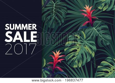 Green tropical sale design with palm leaves and exotic flowers. Vector floral template.