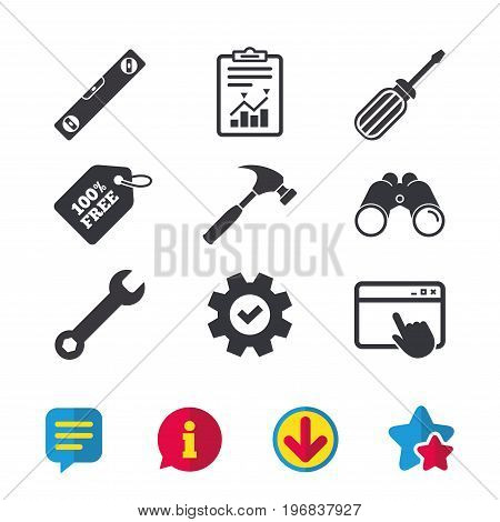 Screwdriver and wrench key tool icons. Bubble level and hammer sign symbols. Browser window, Report and Service signs. Binoculars, Information and Download icons. Stars and Chat. Vector