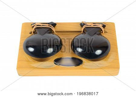 CASTANET MACHINE concerts music percussion orchestral instrument isolated on white background.natural wood.