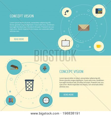 Flat Icons Watch, Letter, Bookshop And Other Vector Elements