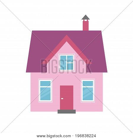 pink house icon isolated on white background
