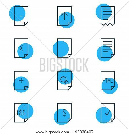 Editable Pack Of Done, Document, Folder And Other Elements.  Vector Illustration Of 12 File Icons.