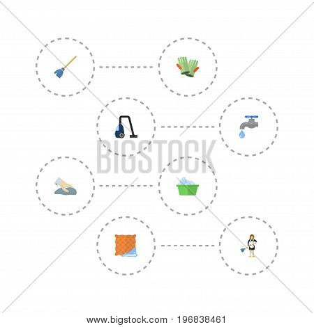 Flat Icons Sweeper, Gauntlet, Laundry And Other Vector Elements