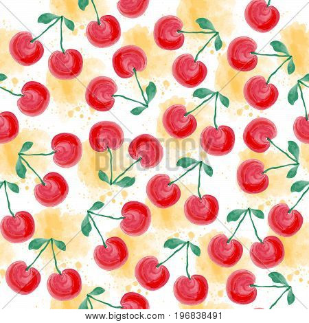 Fresh watercolor summer pattern with cherries vector format