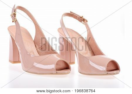 Female High Heel Sandals Isolated On White Background.