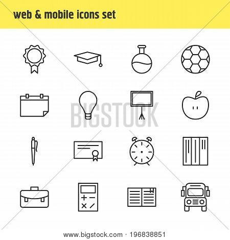 Editable Pack Of Date, Pencil, Calculate And Other Elements.  Vector Illustration Of 16 Studies Icons.