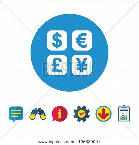 Currency exchange sign icon. Currency converter symbol. Money label. Information, Report and Speech bubble signs. Binoculars, Service and Download icons. Vector