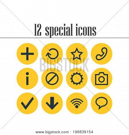 Editable Pack Of Renovate, Talk Bubble, Access Denied And Other Elements.  Vector Illustration Of 12 Interface Icons.