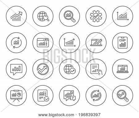 Analysis, Statistics line icons. Set of Charts, Reports and Graphs signs. Data, Presentation and Communication speech bubbles. Global Statistics, hold Document and Checklist. Vector