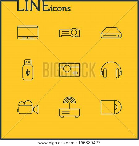 Editable Pack Of Headset, Floodlight, Camcorder And Other Elements.  Vector Illustration Of 9 Accessory Icons.