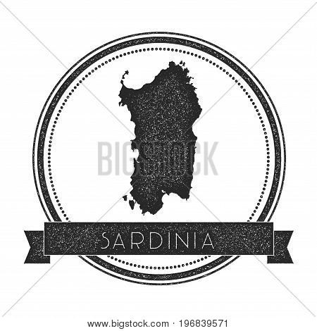 Sardinia Map Stamp. Retro Distressed Insignia. Hipster Round Badge With Text Banner. Island Vector I