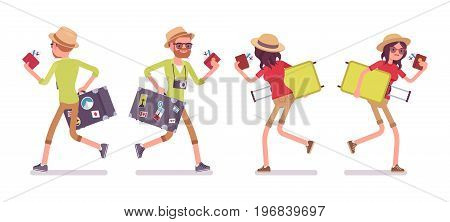 Tourist man and woman running. Traveling people in trip wear with luggage hurry, late for plane or registration. Front, rear view. Vector flat style cartoon illustration, isolated, white background