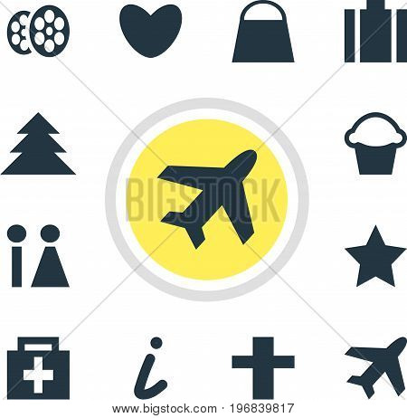 Editable Pack Of Bookmark, Map Information, Cake And Other Elements.  Vector Illustration Of 12 Check-In Icons.