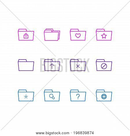 Editable Pack Of Folders, Magnifier, Liked And Other Elements.  Vector Illustration Of 12 Dossier Icons.