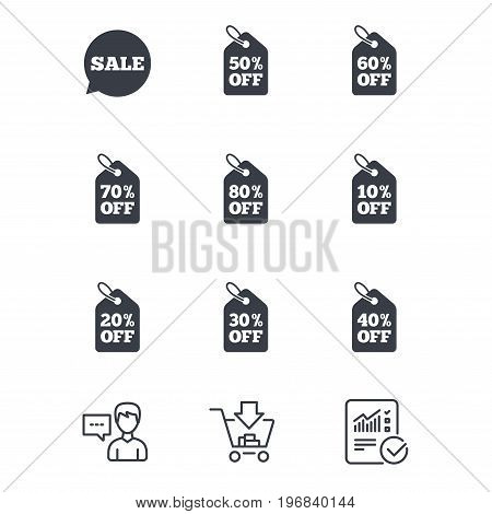 Sale discounts icons. Special offer signs. Shopping price tag symbols. Customer service, Shopping cart and Report line signs. Online shopping and Statistics. Vector