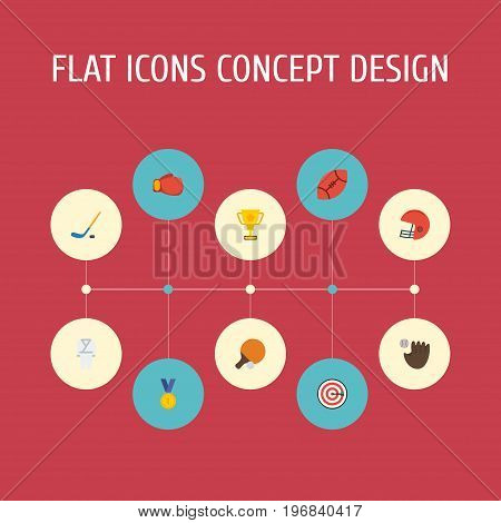 Flat Icons Puck, Boxing, Rugby And Other Vector Elements
