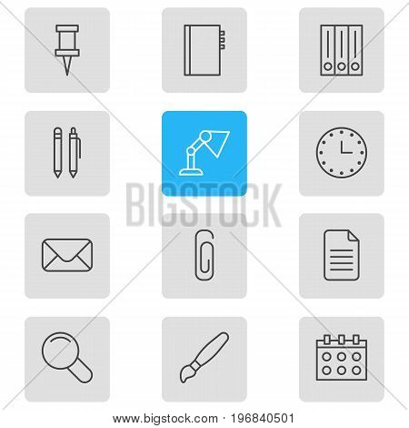 Editable Pack Of Textbook, Archive, Folder And Other Elements.  Vector Illustration Of 12 Stationery Icons.
