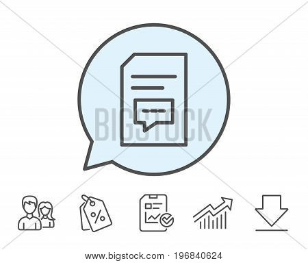 Document with Comments line icon. Information File with Speech bubble sign. Paper page concept symbol. Report, Sale Coupons and Chart line signs. Download, Group icons. Editable stroke. Vector