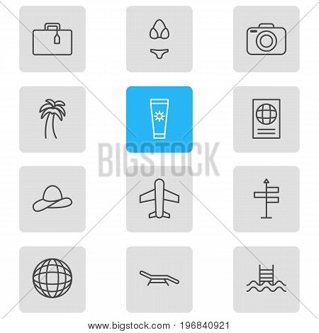 Editable Pack Of Island , Swimwear, Anti-Sun Cream Elements.  Vector Illustration Of 12 Season Icons.