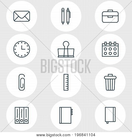 Editable Pack Of Textbook, Garbage Container, Meter And Other Elements.  Vector Illustration Of 12 Instruments Icons.