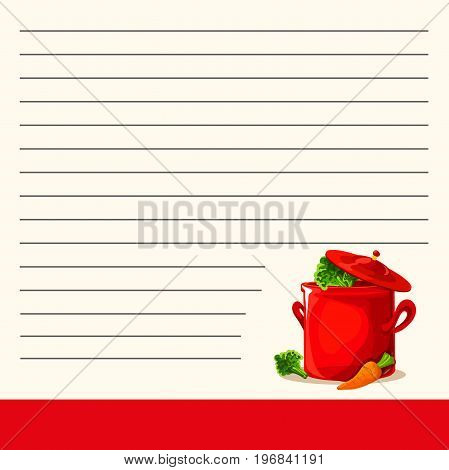 Cookbook with mom s recipes. Red saucepan and carrot. Vector illustration