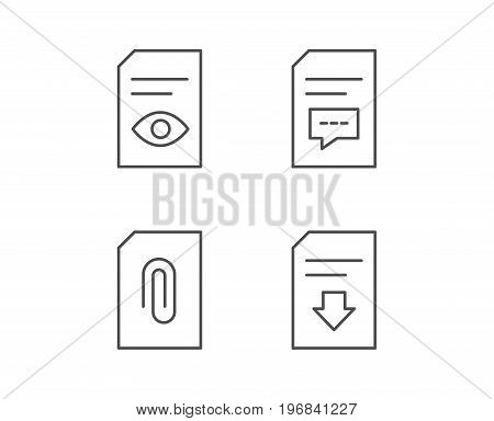 Document, Comment and Download line icons. Document Management, Attachment and Read file signs. Quality design elements. Editable stroke. Vector