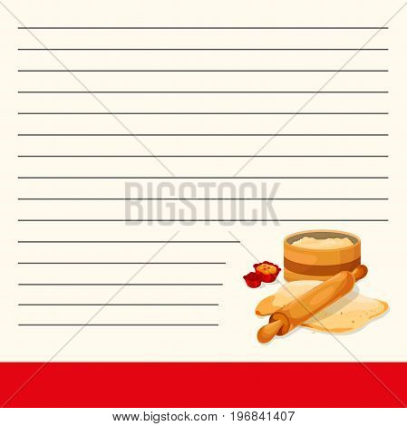 Recipe notebook or Interesting menu design. Sticker yellow note. Isolated.