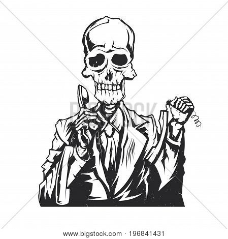 Isolated illustration of dead call center operator