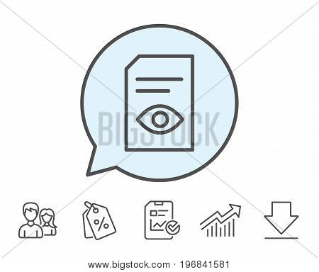 View Document line icon. Open Information File sign. Paper page with Eye concept symbol. Report, Sale Coupons and Chart line signs. Download, Group icons. Editable stroke. Vector