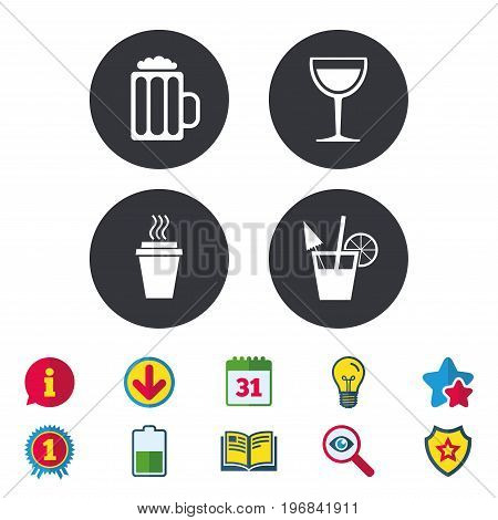 Drinks icons. Take away coffee cup and glass of beer symbols. Wine glass and cocktail signs. Calendar, Information and Download signs. Stars, Award and Book icons. Light bulb, Shield and Search
