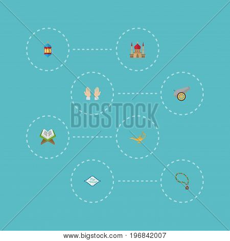 Flat Icons Bead, Palm, Artillery And Other Vector Elements