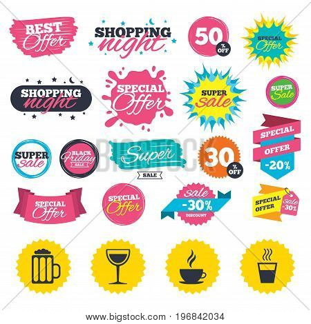 Sale shopping banners. Drinks icons. Coffee cup and glass of beer symbols. Wine glass sign. Web badges, splash and stickers. Best offer. Vector