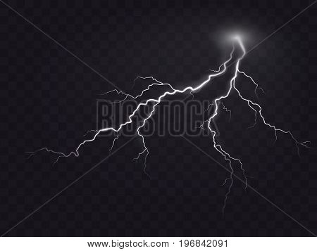 Vector illustration of a realistic style of bright glowing lightning isolated on a dark translucent background, natural light effect. Magic white thunderstorm lightning, print, pattern, design element