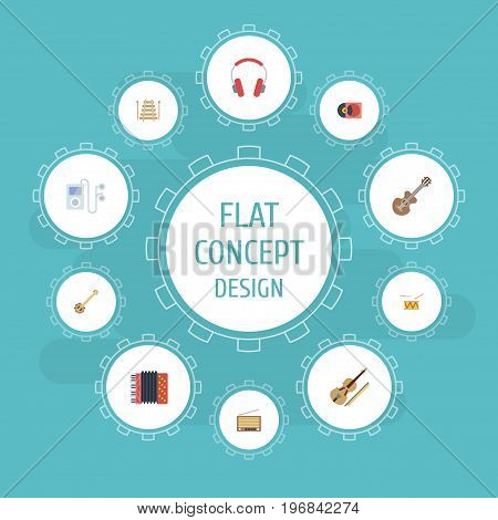 Flat Icons Acoustic, Retro Disc, Banjo And Other Vector Elements