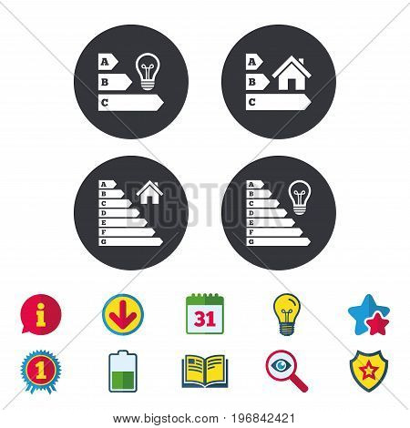 Energy efficiency icons. Lamp bulb and house building sign symbols. Calendar, Information and Download signs. Stars, Award and Book icons. Light bulb, Shield and Search. Vector
